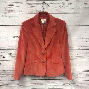 Talbots burnt orange velvet blazer